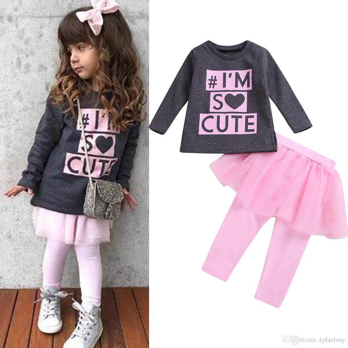 595cd1f3483e Kids Girls Tutu Dresses Pants Outfits Long Sleeves Black T-shirt Tops Pink  Pants Dress 2PCS set Clothing Letter Print I'm so cute 1-6Y