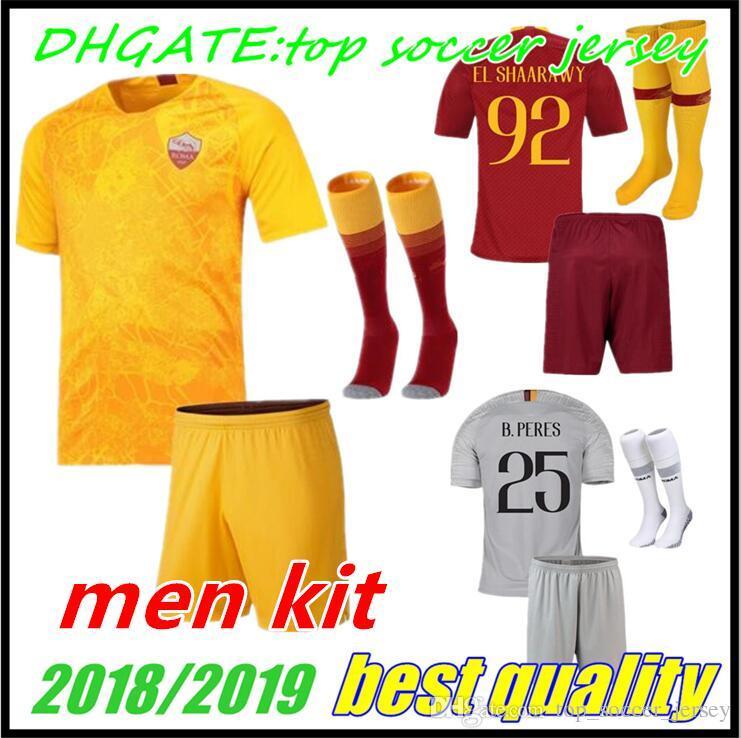 2018 2019 Adult DZEKO Roma Soccer Jersey KIT 18 19 Home Away Third ... 8fe19fb1e
