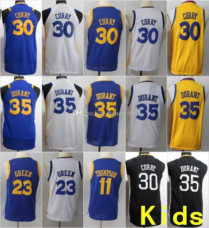 best service 1c55c 5100f Youth Kids Golden State 30 Stephen Curry 35 Kevin Durant Warriors Jersey 23  Draymond Green 11 Klay Thompson Basketball Stitched Size S-XL