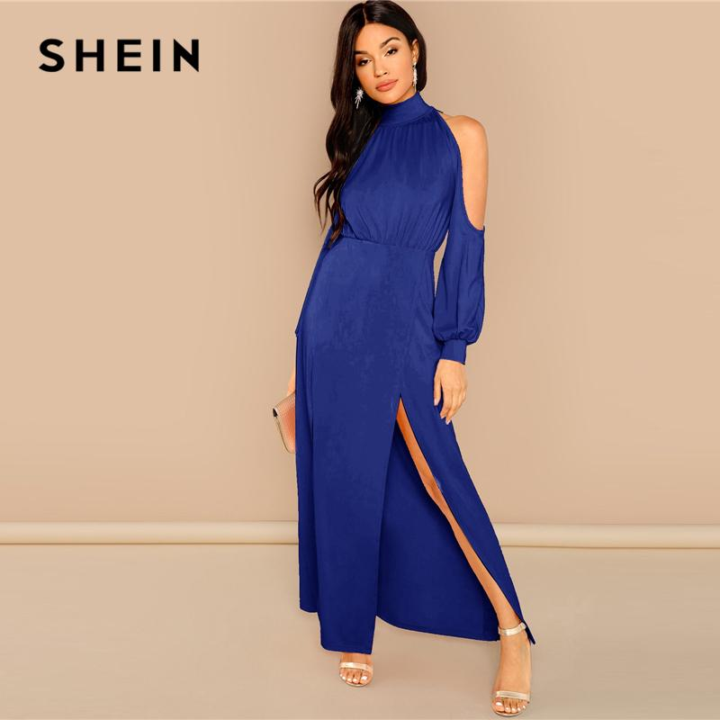 e92688c0b3 SHEIN Going Out Party Blue M Slit Front Cold Shoulder Stand Collar Maxi  Plain Dress 2018 Autumn Modern Lady Women Dresses Evening Dresses Online  Cheap Party ...