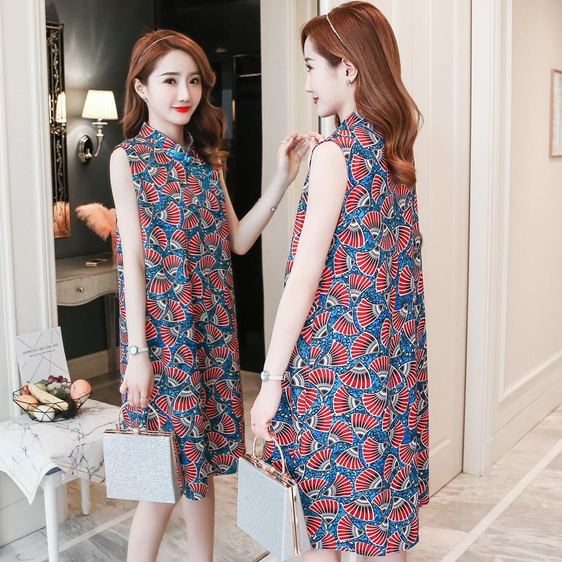 b297412b69bde 7516# Chinese Style Printed Summer Fashion Maternity Dress Elegant Slim  Clothes for Pregnant Women 2019 Tank Pregnancy Cheongsam
