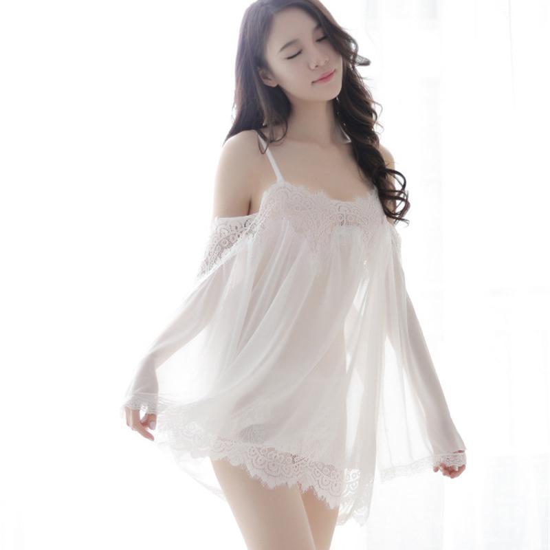30b53b8c665 Wholesale- Women s Sleepwear + t pants sets hot Lace White Wedding Robe  Lingerie Dreams Bridal Sleepwear Nightgown Chemise