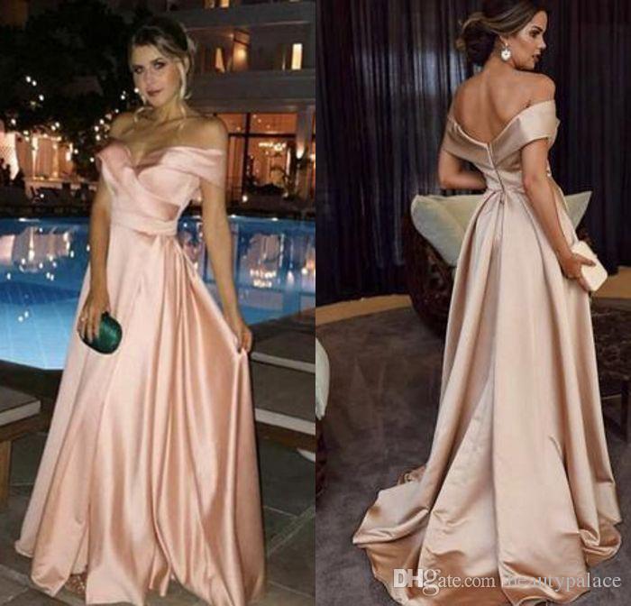 2019 New Design A Line Off Shoulder Celebrity Dresses Sweep Train ... 8c2287d49144