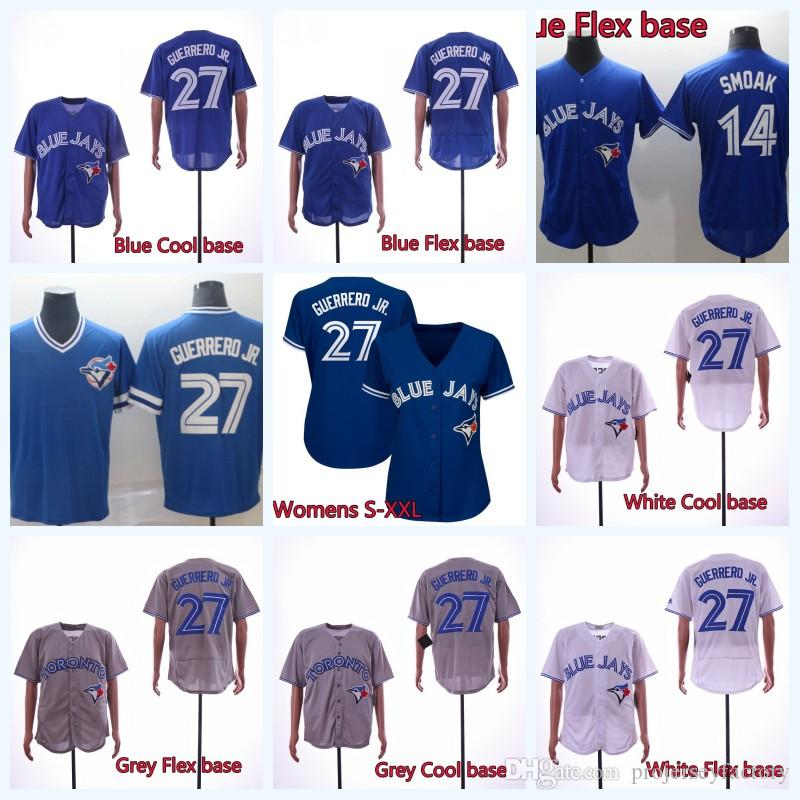 160147ad 2019 Stitched Mens Womens 27 Vladimir Guerrero Jr. Jays Baseball Jersey  Toronto Blue 14 Justin Smoak Jersey Double Stitched Name And Number From ...