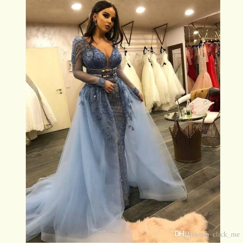 a6454c0f Shinning Mermaid Prom Dresses Sexy Deep V Neck Sheer Long Sleeve Evening  Gowns Sequins Illusion Beaded Women Formal Overskirt Party Dress Prom Dress  ...