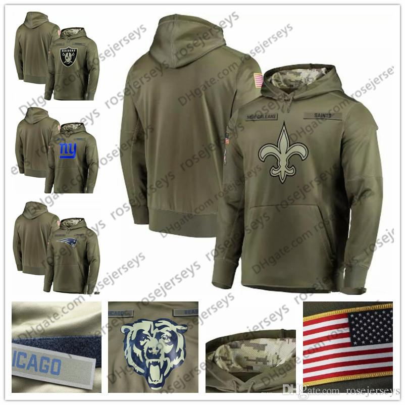 pretty nice e3a1b 7a831 New York Orleans Patriots Saints Oakland Giants Raiders Olive Sweatshirt  2018 Salute to Service Pullover Hoodie Men Women Kid Youth