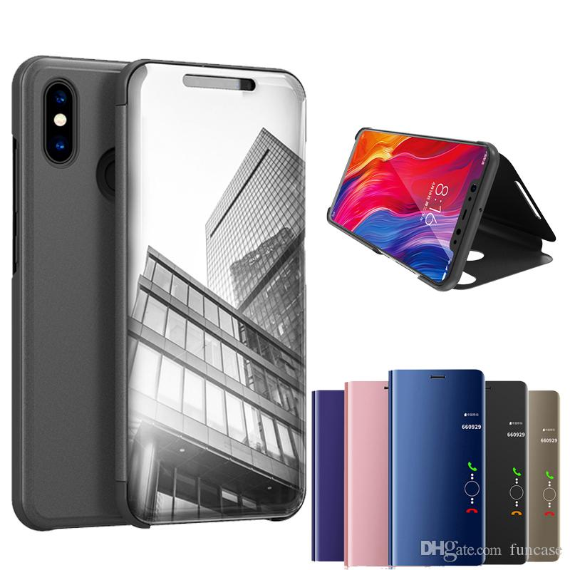 wholesale dealer 71b8b 3a0a6 Official Metallic Plating Smart Mirror Window Stand Flip Cover Case For  Xiaomi Mi 9 SE 8 6X A1 Mix Max 3 Redmi Note 7 6 Pro 5 Plus S2 Y2