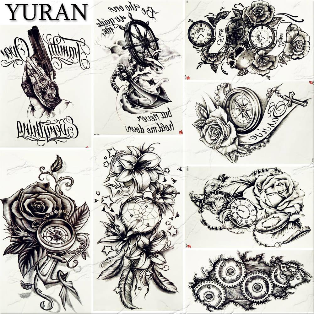 a098b01fa Retro Style Punk Sexy Women Big Tattoo Sticker Black Fake Pirate Anchor  DreamCatcher Tattoos Temporary Flower Arm Tatoos Compass Promotional  Temporary ...