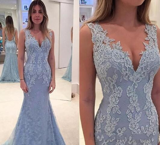 e9c4d3e69af9 2019 Sexy New Prom Dresses V Neck Light Sky Blue Mermaid Long Lace  Appliques Beaded Open Back Formal Party Dress Pageant Evening Gowns 2015 Prom  Dresses ...