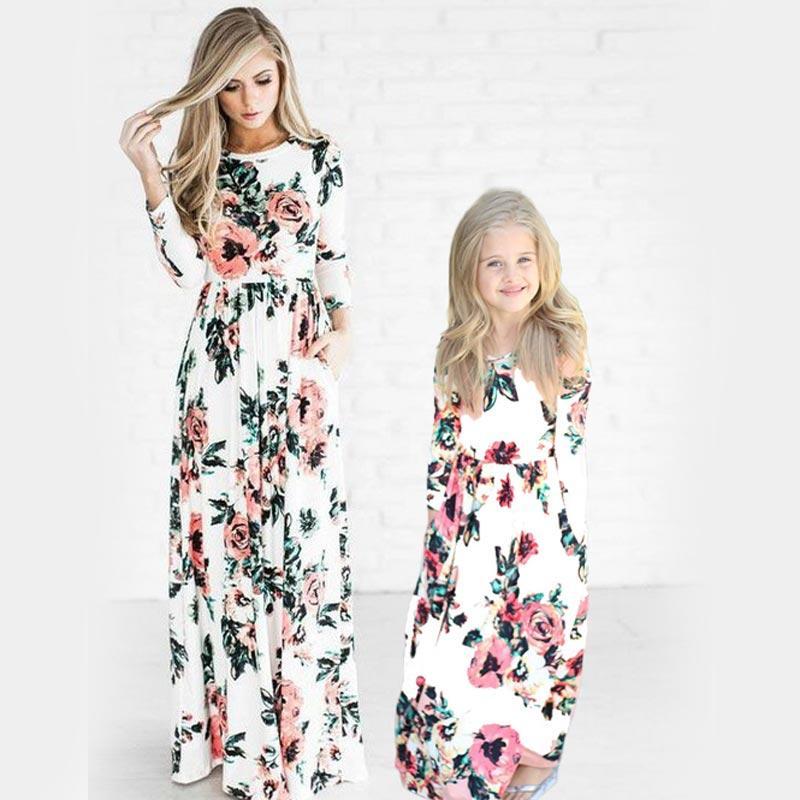 cffe74249 Bohemian Women Dresses For Mother Daughter Floral Little Girls ...