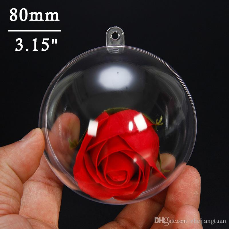 80mm Clear Christmas Ball Ornaments Tree Hanging Transparent Round Ball Baubles Festival Party Wedding Christmas Decorations Balls(1pcs)