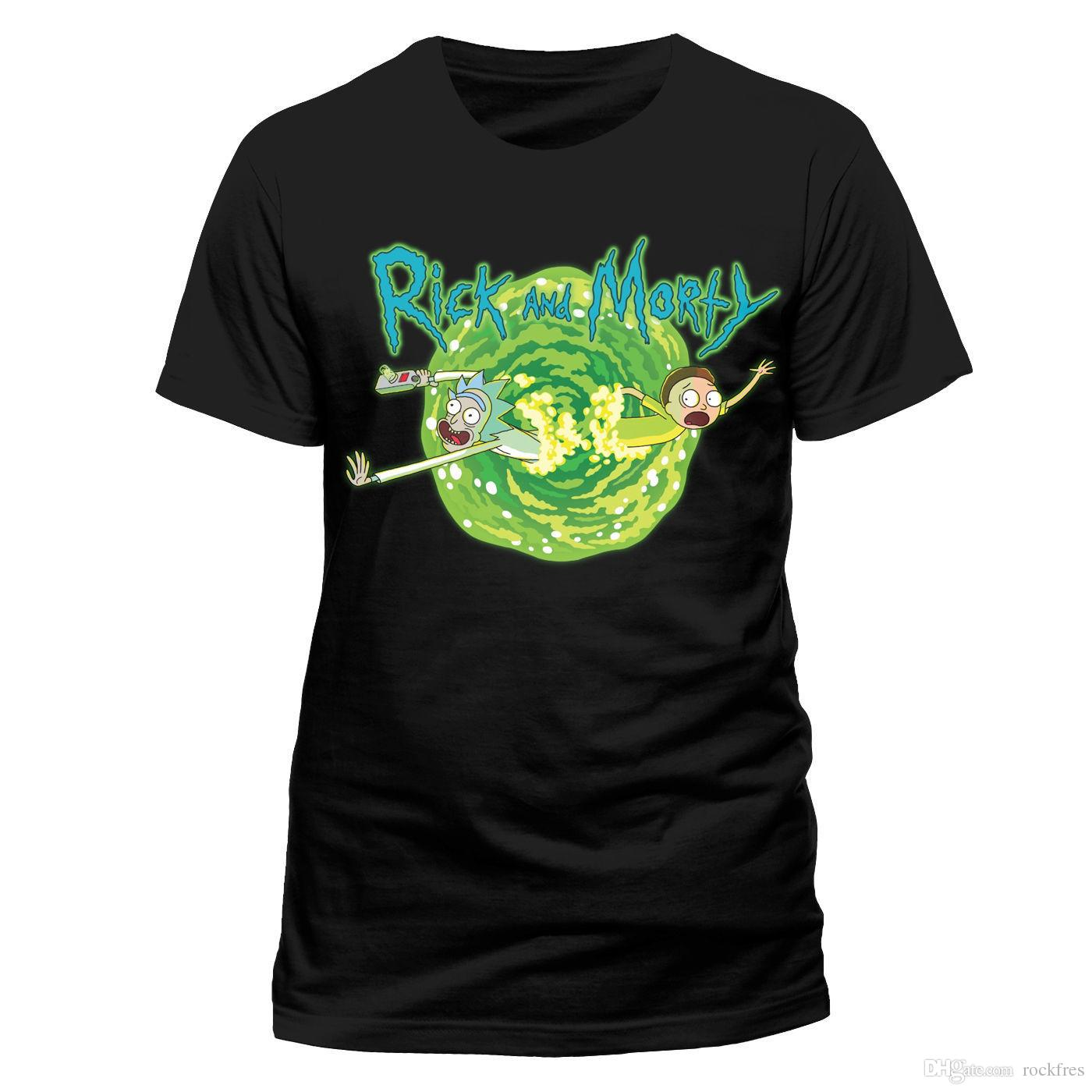 b0a6a5728 Rick Y Morty Mens Negro Portal Camiseta Oficial Gun Adult Swim Cartoon  Network Shirt Tees T Shirt On Shirt From Rockfres