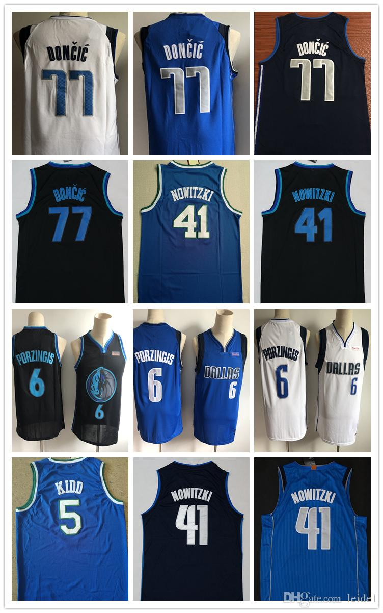 0dba7c98a 2019 2018 New Top Men City 41  Dirk Nowitzki Mens 6  Kristaps Porzingis  Jersey Nowitzki 77  Luka Doncic Basketball Jerseys White Blue Shirts F From  Leide1