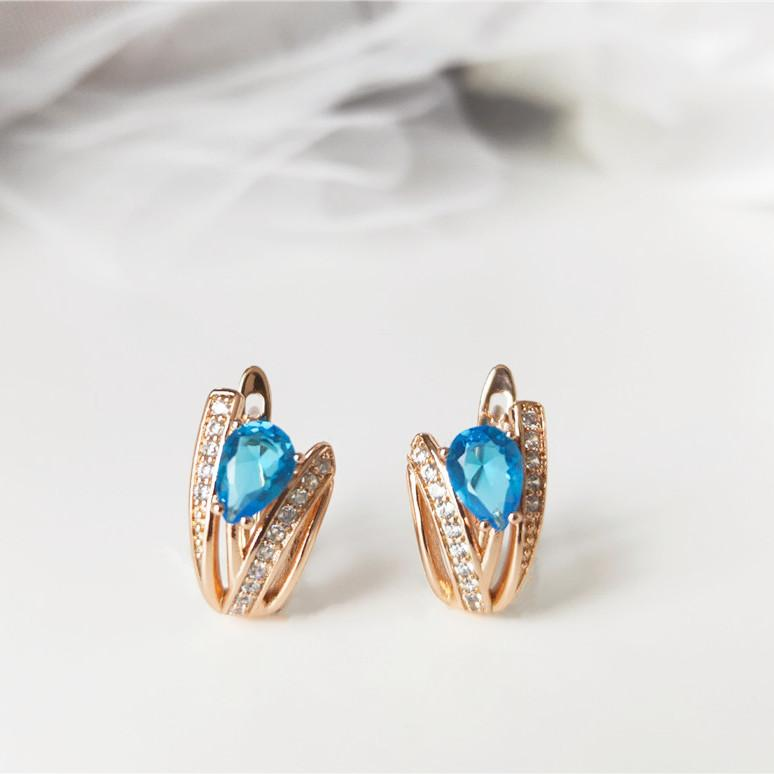 2 color earrings color 585 rose gold zircon inlay earrings holiday gift wedding jewelry commemorative gift shiny classic