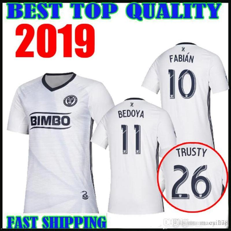 sports shoes ba944 8943e 2019 Philadelphia Union soccer jerseys home away white 19 20 mls 26 TRUSTY  19 BURKE 11 BEDOYA 10 FABIAN PICAULT Football shirts