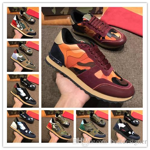 454d804559 2019 New Fashion Luxury Brands Lace Up Designer Genuine Leather Lace Up  Unisex Camouflage Stud Sneakers Best Quality Casual Shoes For Sale Navy  Shoes Blue ...