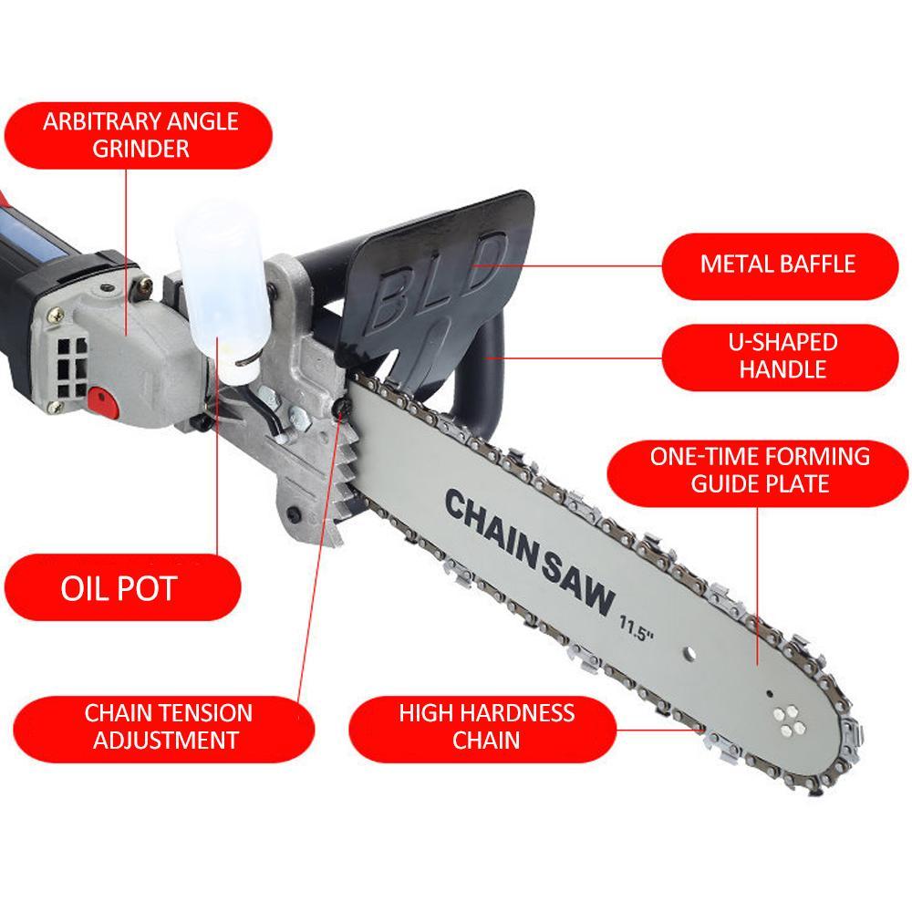 11.5 pulgadas Kit de conversión de montaje de sierra de cadena Montaje de soporte de soporte de motosierra Cambie la amoladora angular en una motosierra Herramienta eléctrica para trabajar la madera