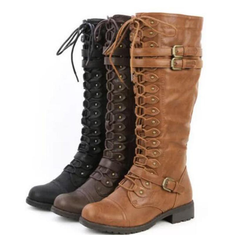 9c07ea87ccd6 Womens Knee High Boots Lace Up Buckle Combat Punk Shoes Riding Zipper Low  Heel Retro Plus Size Chukka Boots Men Slipper Boots From Pinkvvv