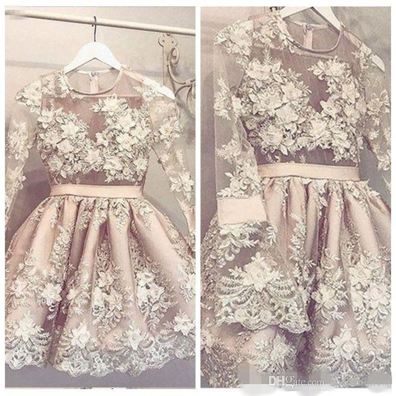 2020 Cute Long Sleeves Homecoming Dresses 3D Lace Applique Illusion Top Short Mini Satin Princess Prom Ball Gown Cocktail Party Wear