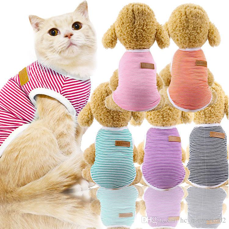Dog Clothes Striped Clothes Pet T Shirts for all size dogs cats Spring multi color options