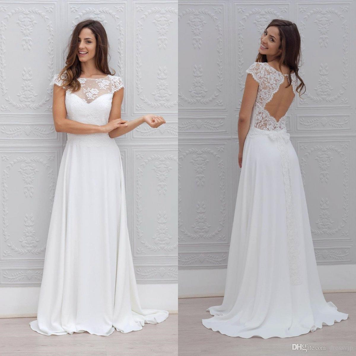6896f780b567b Discount Cheap Beach Wedding Dresses Lace Top A Line Hollow Back Cap Sleeves  Sweep Train Boho Wedding Dress Bow Custom Country Bridal Gowns Halter A Line  ...