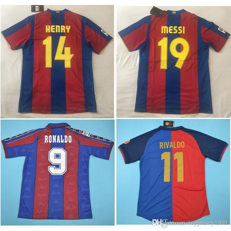 sports shoes 69639 452da Top 96 97 Rivaldo Retro soccer jerseys Messi football shirt 07 08 RONALDO  jersey Puyol 1899 1999 Classic RONALDINHO maillot de foot