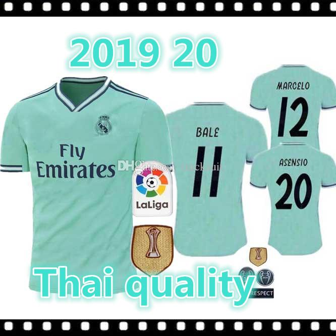 012538f335 Acheter 2019 20 Maillot De Football Du Real Madrid 19 20 Maillot De Football  Vert De Real Madrid ASENSIO ISCO MARCELO Taille Des Uniformes De $20.31 Du  ...