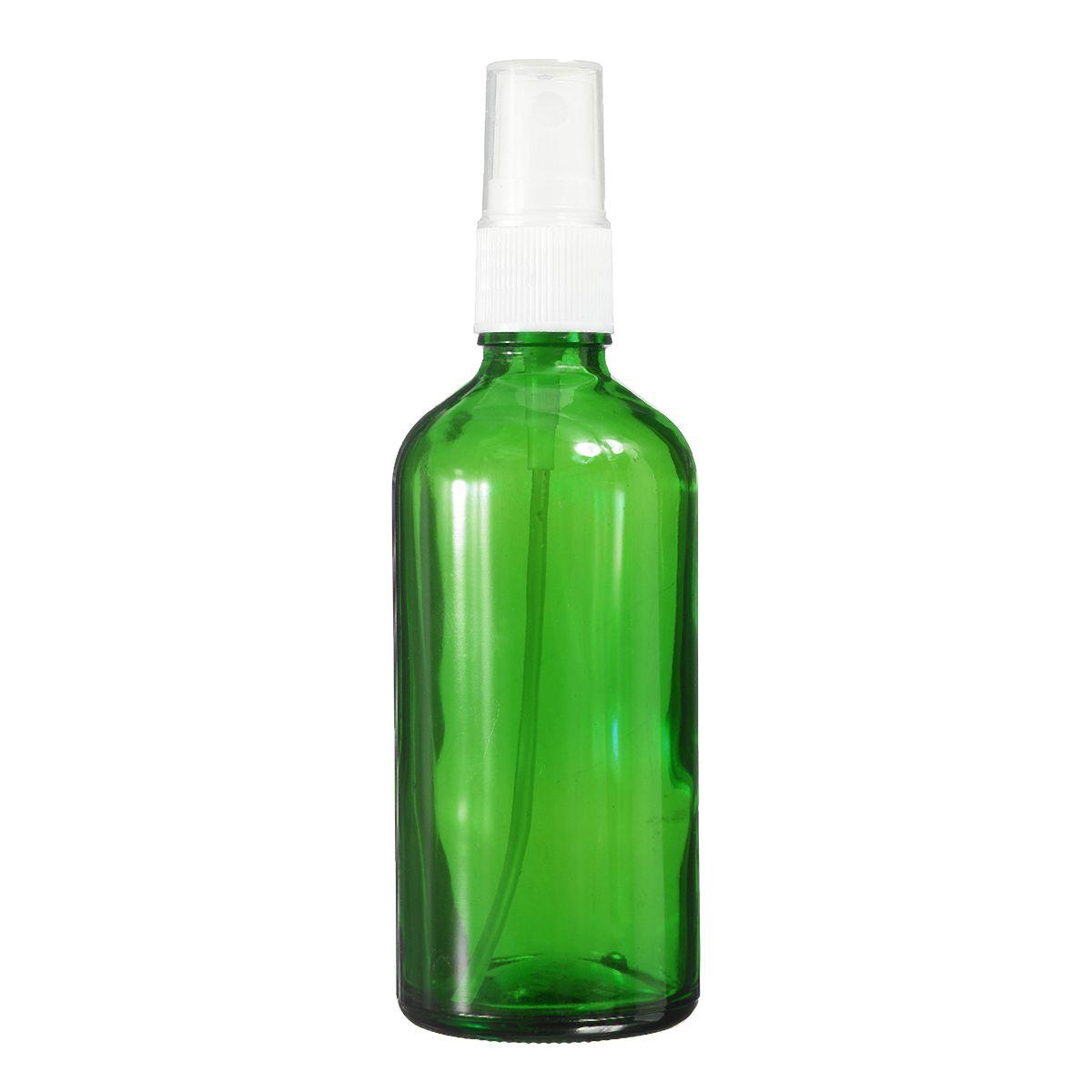 30 unids 100 ml Botella de aerosol de vidrio verde Blanco Fina Mist Pulverizador Aceite Esencial Líquido Perfume Vial Atomizador Envase Cosmético Vacío