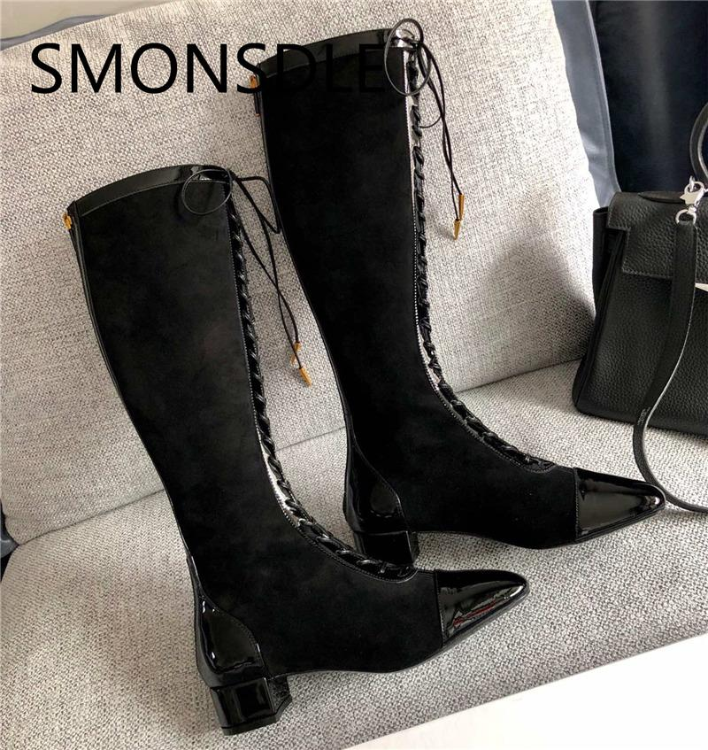 f1ade3c24625e SMONSDLE New Black Genuine Leather Women Ankle Boots Square Toe Back Zip  Thick Low Heel Women Autumn Winter Boots Shoes Woman Boys Boots Fashion Shoes  From ...