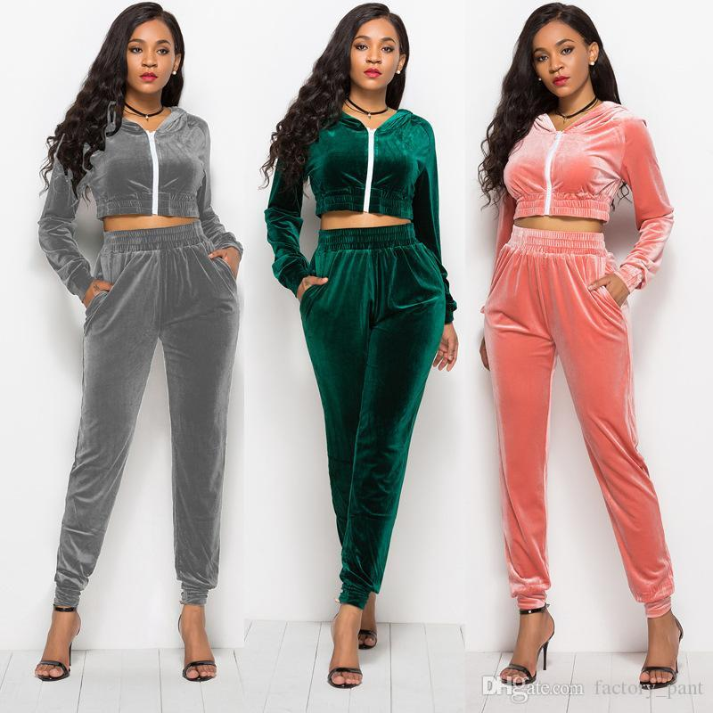 f2f53a4840886 Cheap Autumn Winter Women Two Piece Set Velvet Side Solid Color Tops And  Pant Suit Casual Outfits Matching Sets Velour Tracksuits