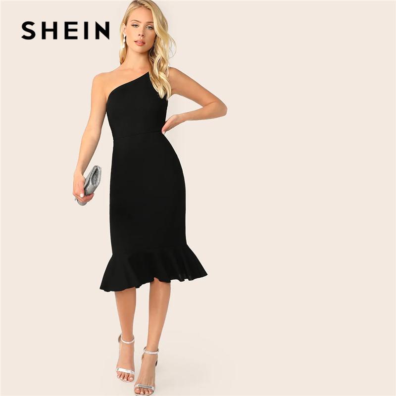 b0009fda2b SHEIN Elegant Party Black One Shoulder Pep Hem Summer Bodycon Midi Dress  Women Summer 2019 Sleeveless Solid Slim Dresses Spring Dresses Junior  Dresses From ...