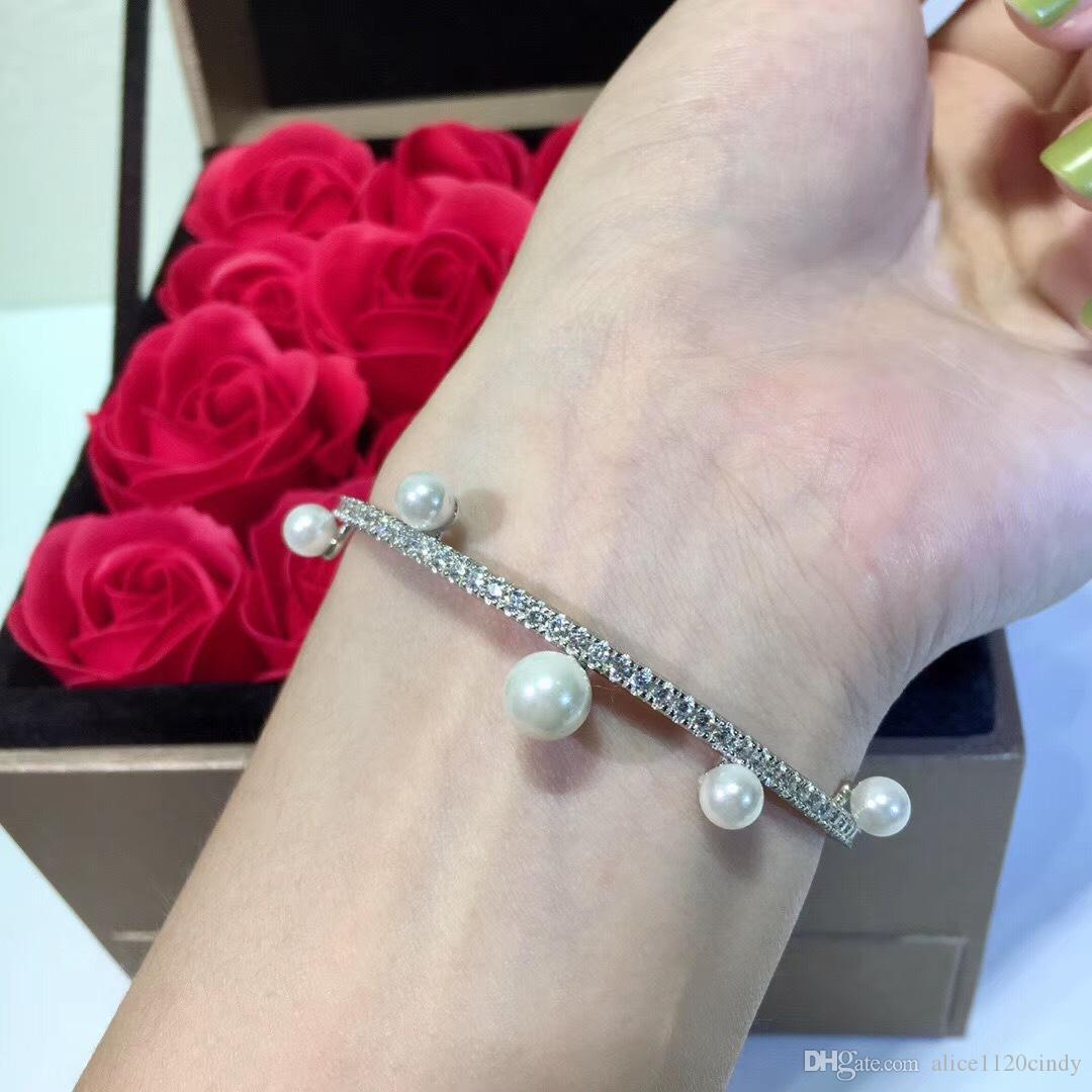 Hot Sales Fashion cz zircon Crystal diamond bangle 100% Natural Freshwater Pearl Bracelet for Women Exquisite Jewelry Bracelet silver 925