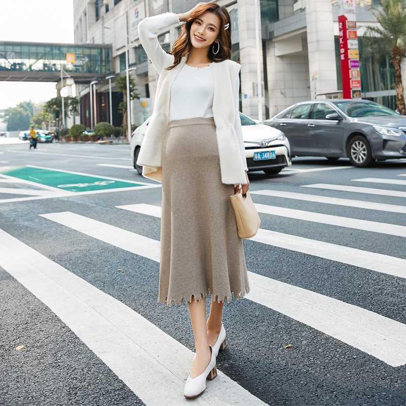 66f050bd8b364 2019 Pregnant Women Skirt Autumn And Winter Knit Dress High Waist A Word  Skirt Stomach Lift Thick Tassel Wool From Friendhi, $47.81 | DHgate.Com