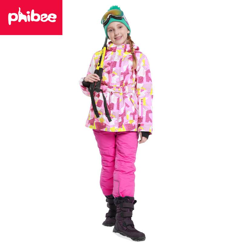 16c599dba 2019 Winter Children Ski Suit Windproof Warm Girls Clothing Set ...