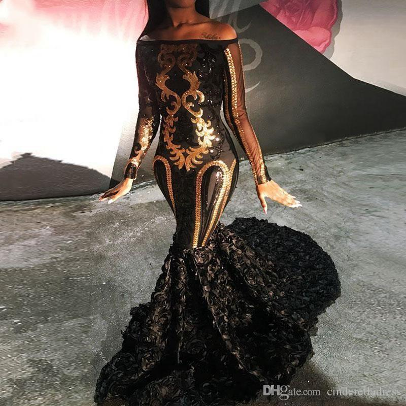 Luxury Sparkly Sexy Prom Dresses 2019 For Party Sheer Long Sleeve Mermaid Boat Neck Golden Sequin African Black Long 3D flowers Evening Gown