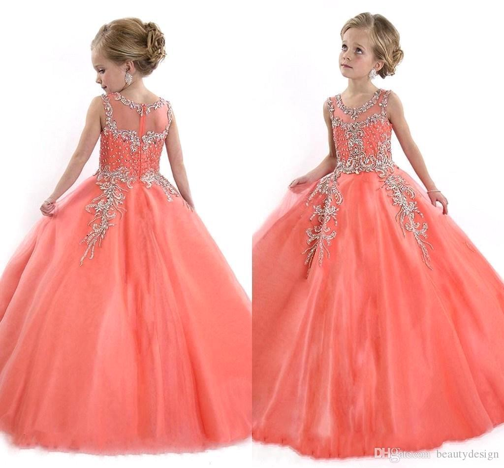 96f4ab26b064 2019 Coral Girls Pageant Dresses Sheer Crew With Beads Rhinestones Rachel  Allan Crystal Princess Child Birthday Party Gowns Flower Girl Dress Sewing  ...