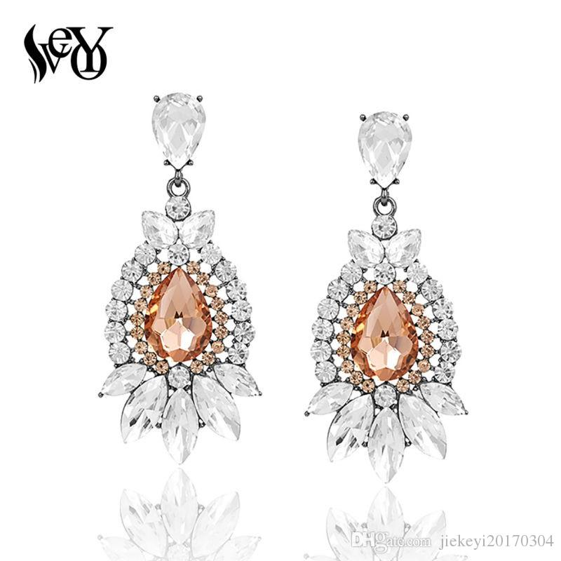 VEYO Fashion Crystal Long Wedding Drop Earrings for Woman brincos Luxury Big Rhinestone Party Earring