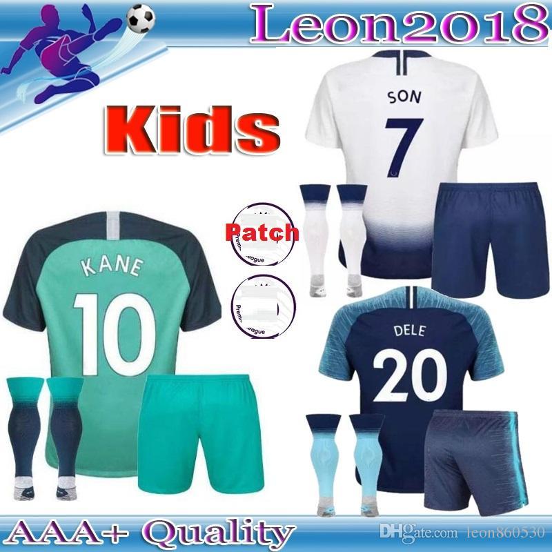 reputable site 61e11 3f2cd Kids 18 19 Tottenham home Soccer Jersey KANE LAMELA ERIKSEN DELE SON  football jersey children Football kit shirt youth Fans tees