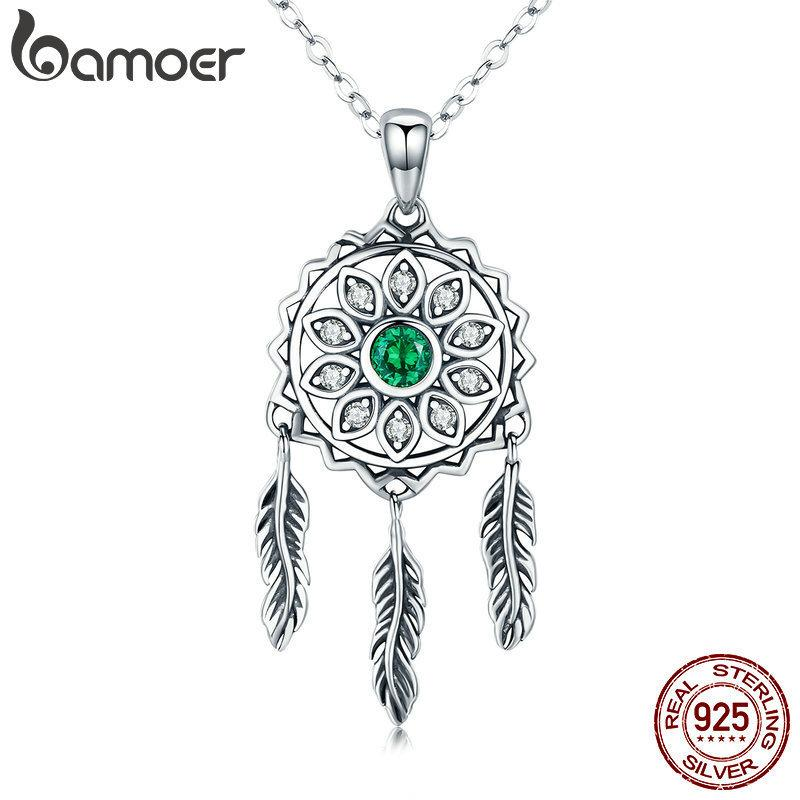 Bamoer New Trendy Real 925 Sterling Silver Dream Catcher Holder Pendant Necklaces Women Fashion Sterling Silver Jewelry Scn263 Y19050901