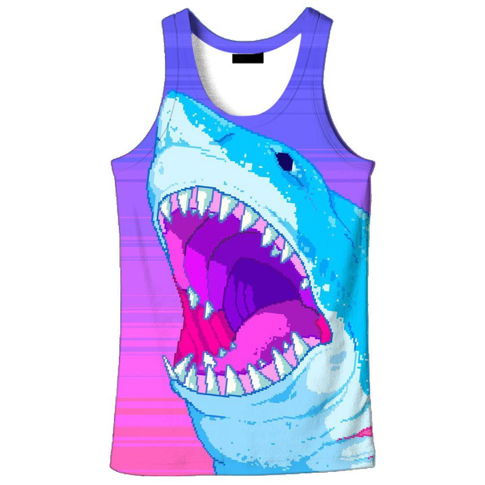 f1af853020 2018 hot sale New fashion 3D men's shark print 9 size casual Tanktop  custom-made print free shipping
