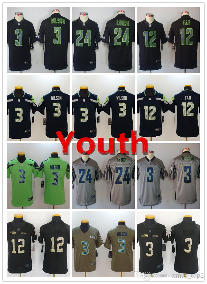 5681b2d48 Youth 3 Russell Wilson Seattle Seahawks Football Jersey 100% Stitched  Embroidery 12th Fan 24 Marshawn Lynch Color Rush Football Boys Jersey  Grooms Shirts ...