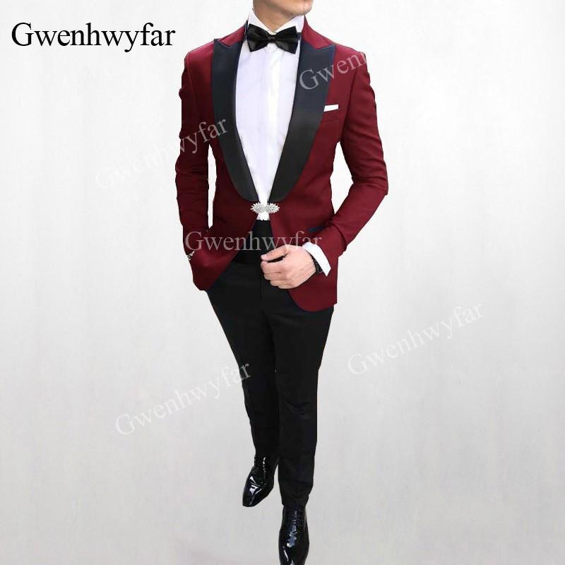 00add13a8d707 Compre G V Más De es Trajes De Boda Para Hombre Rojo 2019 Slim Fit Groom  Tuxedos Groomsman Blazer Trajes Para Hombres 2 Piezas Chaqueta + Pantalones  A ...