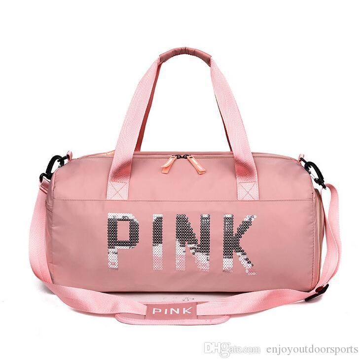 7740014c1194 Big Capacity Women Sport Bag Designer Sequins PINK Duffle Bag Gym Fitness  Yoga Shoulder Bags For Female Travel Totes Waterproof Handbags W11 Men Travel  Bags ...