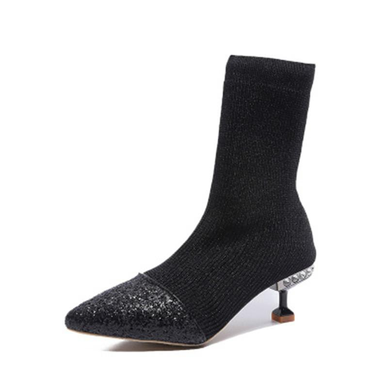 1177606e9fd Spring Mid-calf Socks Boots Women Fashion Bling Sequined Patchwork Knit  Pointed Toe Boots Elastic Boots Thin Heels Slip On Winter Shoes