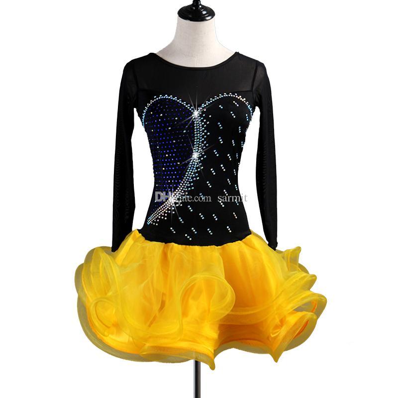 e7b5f849d 2019 Latin Dance Dress Women Sale Salsa Dance Wear Lyrical Dance Costumes  D0542 Fluffy Sheer Hem Mesh Sleeve From Sarmit, $57.24 | DHgate.Com