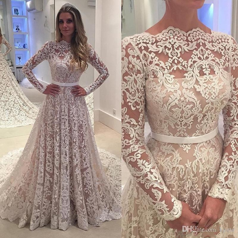 2e33c0fb278c Discount Vintage Long Sleeve Wedding Dresses 2019 Modest Full Lace  Embroidery Jewel Backless Sweep Train Country Garden Wedding Bridal Gown  Wedding Dress ...