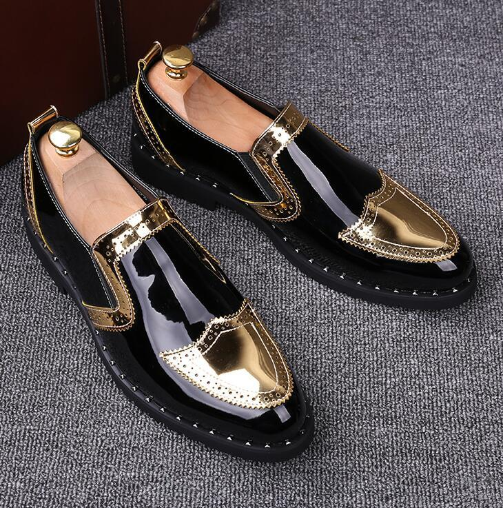 Men Ptent Leather Genuine Luxury Designer Bullock Mens Loafer Shoes Black Italian Wedding and Prom Shoes Mens Moccasin