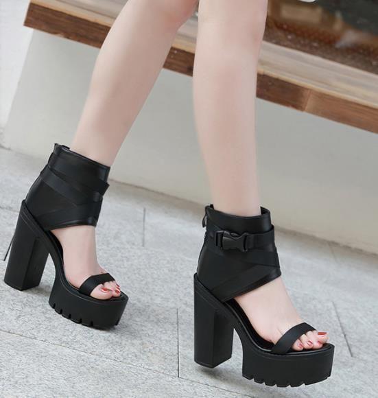 c25e1b1294a Meilusi New Black Buckle Open Toe Platform Chunky Heel Gladiator ...