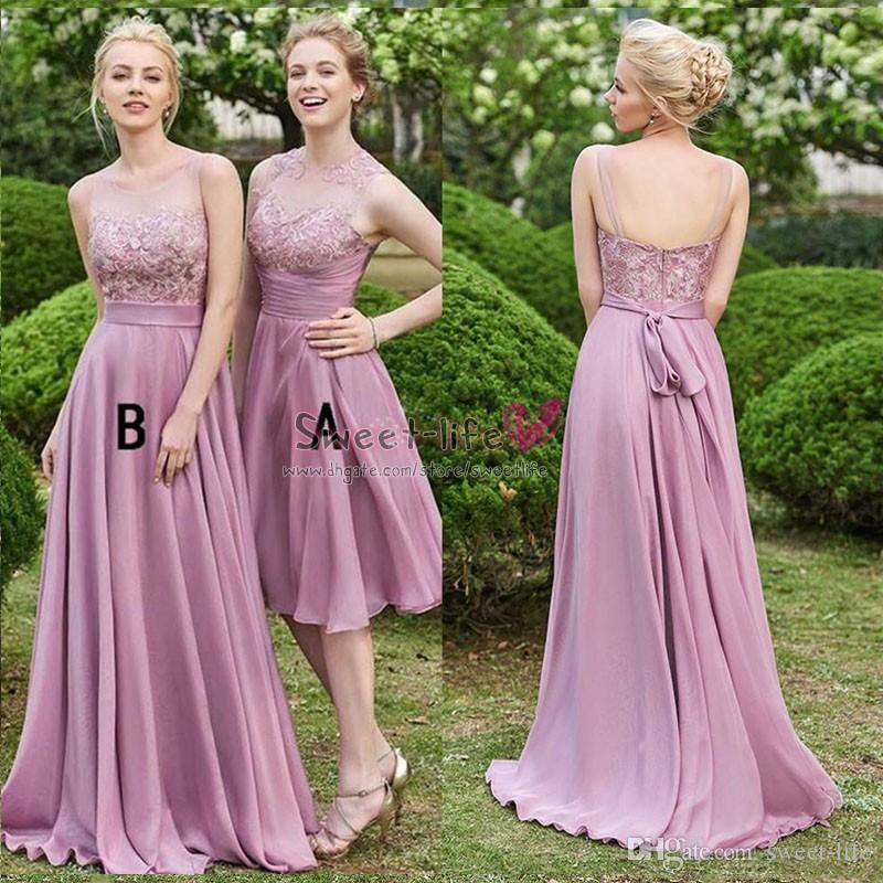ba4a6bb0f86 2019 Mauve Bridesmaid Dresses Long Chiffon Sheer Bodies A Line Sleeveless  Backless Lace Top Short Party Dress Wedding Maid Of Honor Gowns Designer  Bridal ...