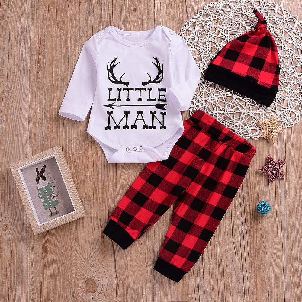 ca27a341f3558 good quality Fashion winter clothes for baby 3PCS Toddler Kids Baby Letter  Print Romper+Grid Print Pants+Hat Set kids clothing roupas